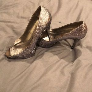 Guess Steel Silver Open-Toe Heels